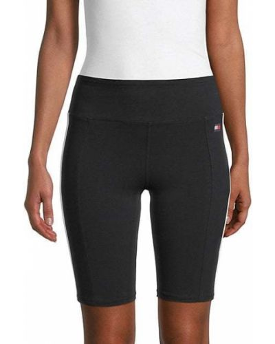 Czarne szorty w paski z haftem Tommy Hilfiger Sport