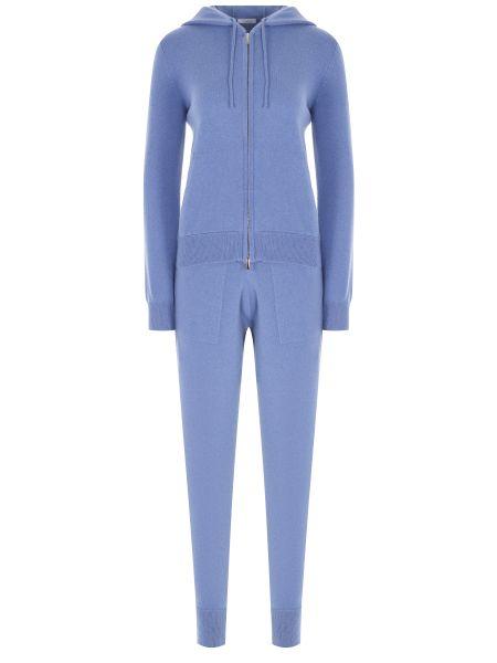 Синий кашемировый спортивный костюм с поясом Malo