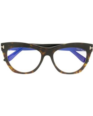 Очки кошачий глаз хаки Tom Ford Eyewear