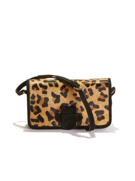 Сумка через плечо кожаный с леопардовым принтом La Redoute Collections