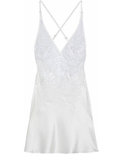 Biała satynowa koszula nocna z haftem I.d. Sarrieri