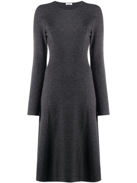 Серое вязаное платье макси с длинными рукавами P.a.r.o.s.h.
