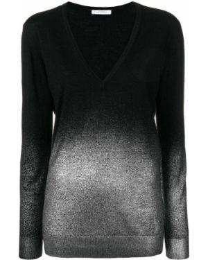 Черный длинный свитер с вырезом в рубчик Versace Collection