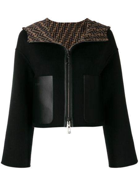 Кашемировая черная куртка с капюшоном двусторонняя на молнии Fendi
