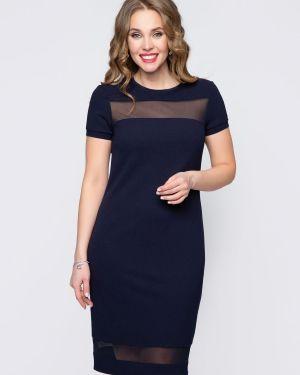 Синее прямое вечернее платье со вставками сетчатое Diolche