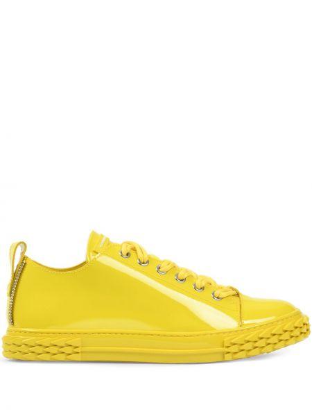 Skórzany żółty skórzane sneakersy na sznurowadłach okrągły Giuseppe Zanotti