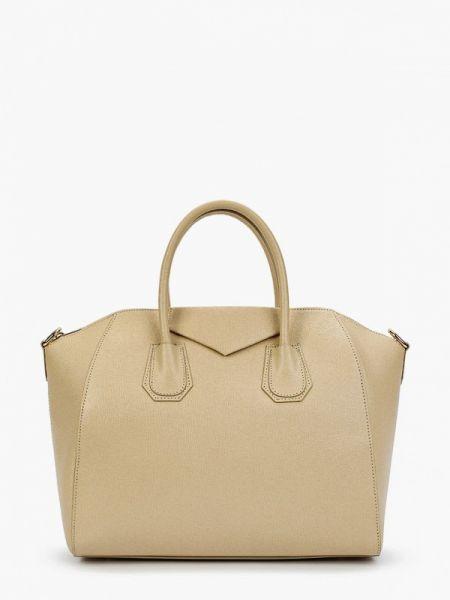 Бежевая кожаная сумка из натуральной кожи Lamania