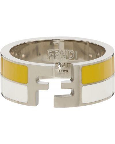 Biały pierścionek srebrny w paski Fendi