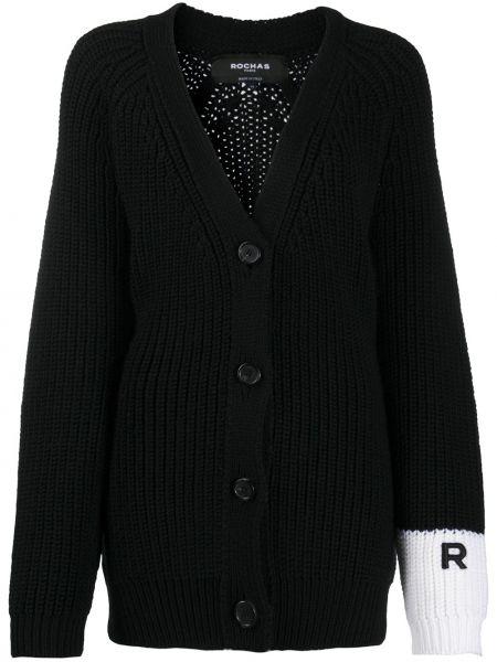 Шерстяной черный вязаный кардиган с вышивкой на пуговицах Rochas