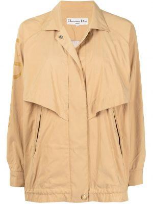 Бежевая длинная куртка с подкладкой с воротником Christian Dior