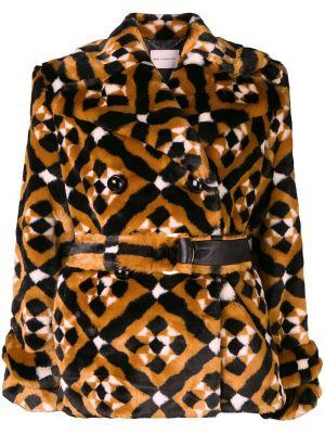 Brązowy płaszcz skórzany z długimi rękawami Mary Katrantzou