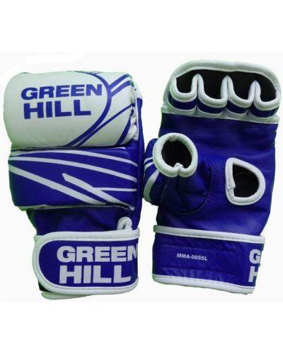 Кожаные перчатки зеленый синий Green Hill
