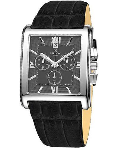 Часы с кожаным ремешком квадратные серые Nika