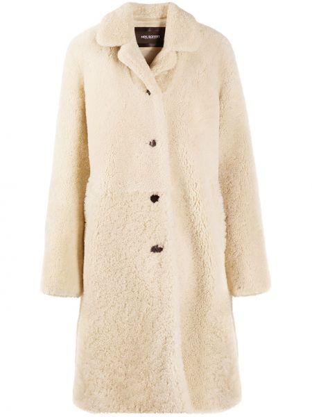 Однобортное кожаное длинное пальто на пуговицах Neil Barrett
