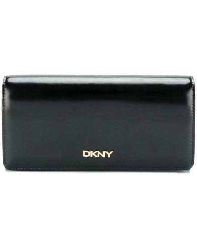 Кожаный кошелек на молнии с логотипом Dkny