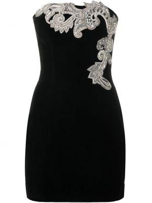 Облегающее черное платье мини с пайетками на молнии Balmain