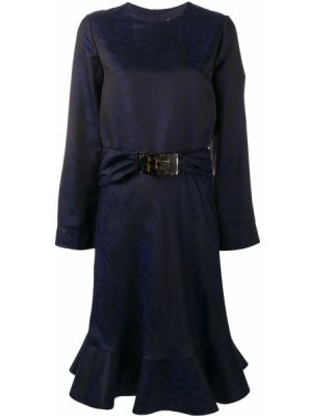 Платье с поясом с баской на молнии Giorgio Armani