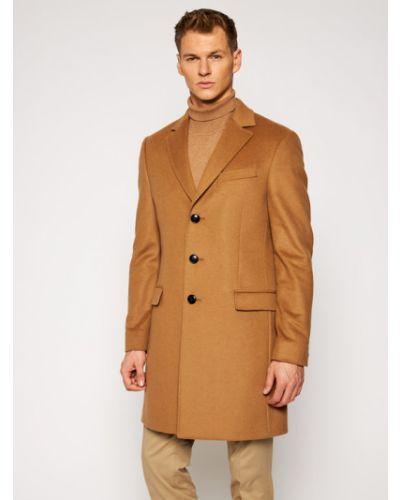 Brązowy płaszcz wełniany Tommy Hilfiger Tailored