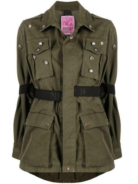 Зеленая длинная куртка милитари с длинными рукавами Pinko