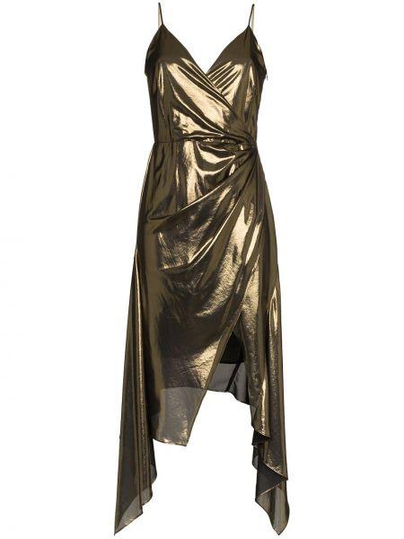 Желтое платье с запахом с V-образным вырезом на молнии Haney