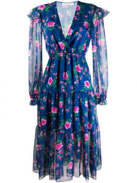 С рукавами синее платье миди в цветочный принт Philosophy Di Lorenzo Serafini