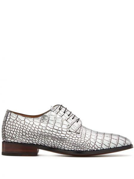 Серебряные кожаные туфли на шнуровке Giuseppe Zanotti