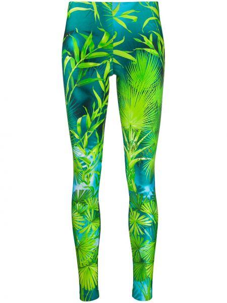 Zielone legginsy z printem Versace