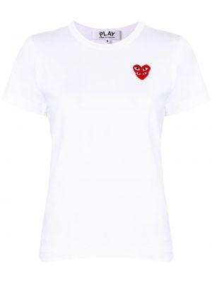 Biały bawełna koszula z krótkim rękawem z haftem okrągły dekolt Comme Des Garcons Play