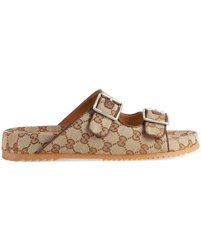 Beżowe sandały peep toe płaska podeszwa Gucci