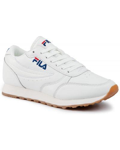 Białe spodnie skorzane Fila