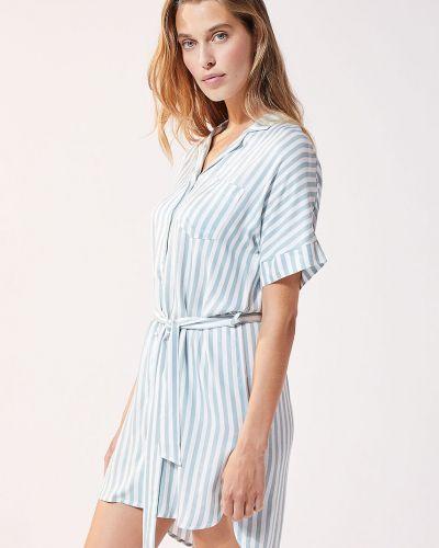 Niebieska piżama krótki rękaw z wiskozy Etam