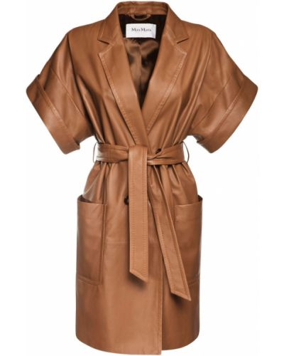 Кожаное восточное платье с манжетами с карманами Max Mara