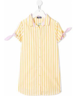 Прямое с рукавами желтое платье мини Mc2 Saint Barth