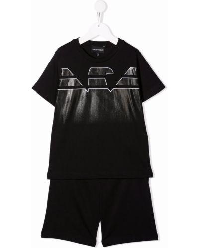 Czarny dres bawełniany krótki rękaw Emporio Armani Kids