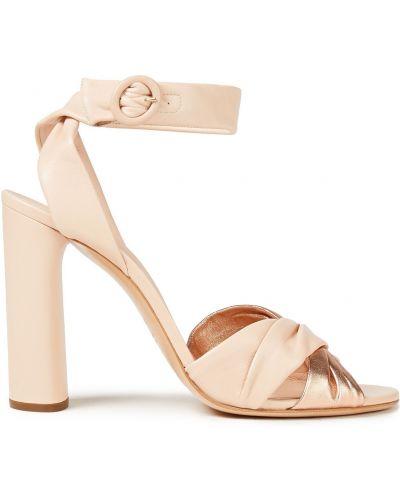 Różowe sandały skorzane z klamrą Casadei