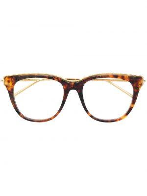 Коричневые очки квадратные металлические Boucheron Eyewear