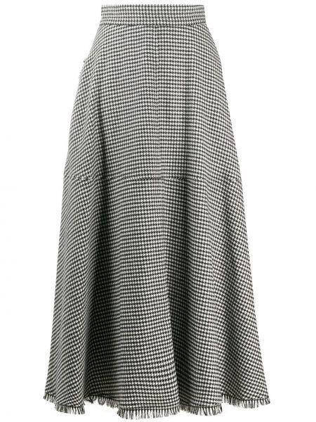 Wełniany pofałdowany czarny spódnica midi frędzlami Federica Tosi