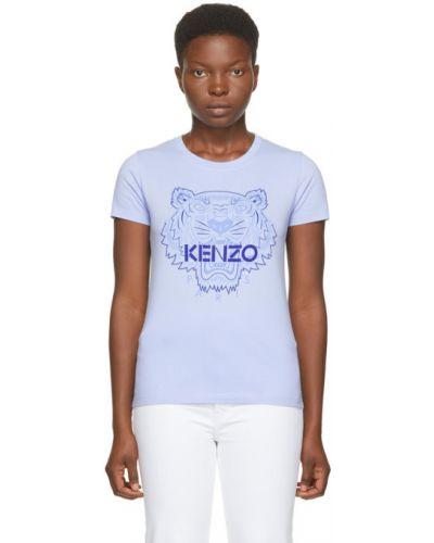 Трикотажная синяя футболка с воротником Kenzo