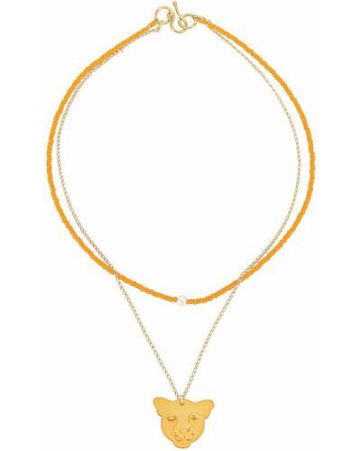 Żółty złoty naszyjnik z pereł Mercedes Salazar