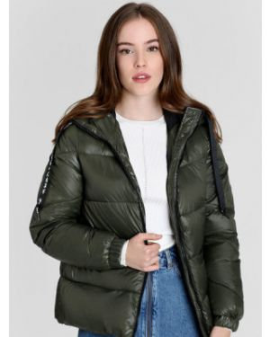 Зеленая облегченная куртка с капюшоном на молнии металлическая Ostin