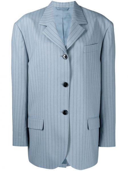 Однобортный синий удлиненный пиджак с карманами Acne Studios