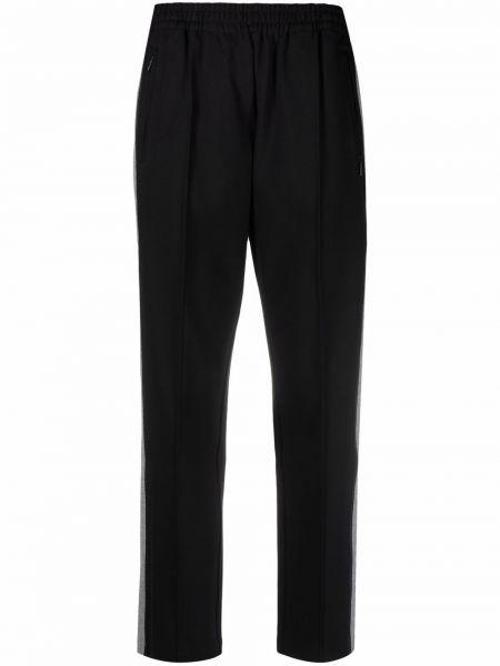 Черные брюки с защипами в полоску на молнии Calvin Klein