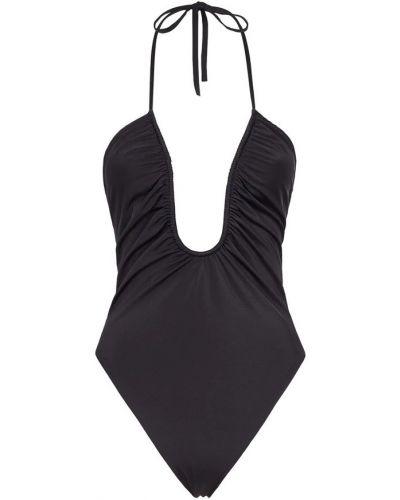 Czarny stroj kąpielowy jednoczęściowy z falbanami Fendi