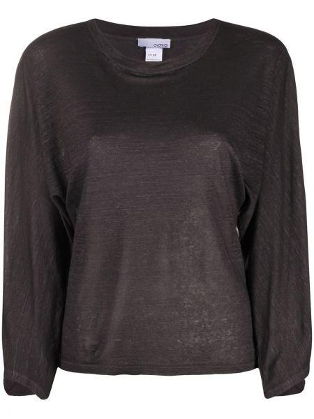 Прямая свободная черная футболка со стразами Avant Toi