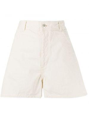 Джинсовые шорты с завышенной талией бежевые Jil Sander