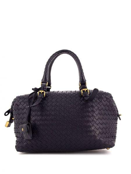 Черная сумка с ручками круглая металлическая на молнии Bottega Veneta Pre-owned