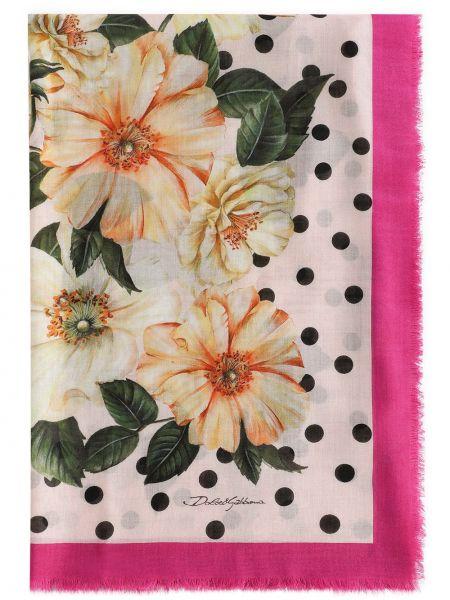 Розовый шелковый шарф с опушкой Dolce & Gabbana