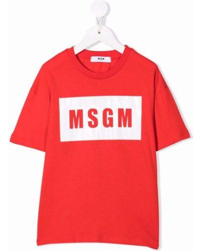 Biała koszulka z printem Msgm Kids