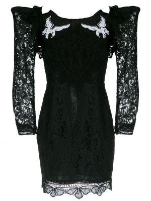 Черное приталенное ажурное платье на шнуровке Martha Medeiros
