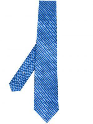 Krawat z printem - niebieski Canali